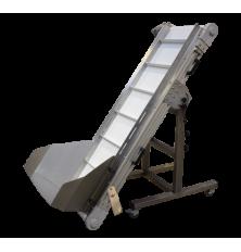 Adjustable conveyor with hopper / feeding conveyor