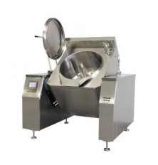 Automatic tilting cooker with mixer