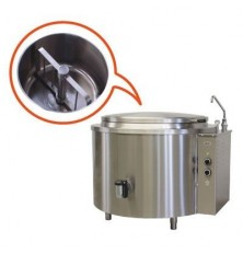 Round boiling pan with mixer